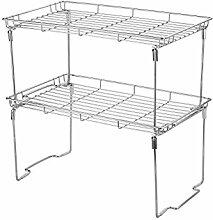 Stapelbar und Faltbar Küchen Universalregal Geschirrablage 38L × 23B × 19Hcm (Groß 2er Set, Silber)