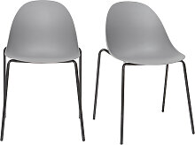 Stapelbare Design-Stühle mit grauen Metallbeinen
