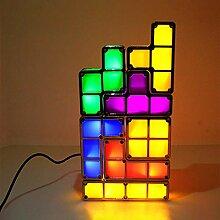 Stapelbare LED Tetris Lampe, 7 Farben LED