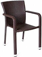 Stapelsessel 'Yoko' Rattan beige grau braun Stapelstuhl stapelbar Gartenstuhl Stuhl Sessel , Farbe:Braun