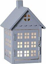 Star LED-Dekoration Metal House, Metall, 0.025 W, Grau, 13.5 x 12.5 x 22 cm