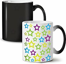 Star Modisch Gestalten Mode Schwarz Farbwechsel Tee Kaffee Keramisch Becher 11 oz   Wellcoda