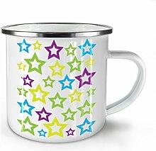 Star Modisch Gestalten Mode Weiß Emaille-Becher 10 oz   Wellcoda