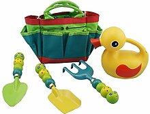 STAR SSTO Pflanzungs-Garten-Gartenarbeit-Werkzeuge Kinder 5PC Garten-Werkzeug-Satz umfaßt 4 Garten-Werkzeuge mit entzückenden Wanzen als Werkzeug-Handles Ente-Bewässerungsdose