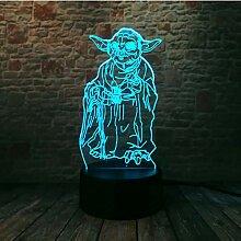 Star Wars 3D Bulbing Lampe Led Master Yoda Leader