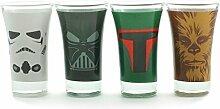 Star Wars Charaktere Schnapsgläser im 4er Set - Star Wars Likörglas Schnapsbecher Darth Vader Shooter