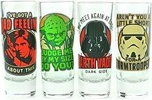 Star Wars Retro Charaktere Schnapsgläser im 4er Set - Star Wars Retro Charaktere Likörglas Schnapsbecher Darth Vader Shooter