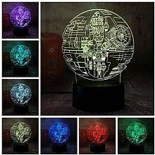 Star Wars Todesstern 3D LED Nachtlicht 7 Farbe