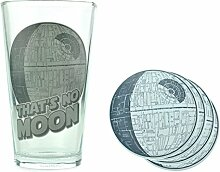 Star Wars Todesstern Glas mit 4 Untersetzern - Todesstern Trinkglas That's no Moon Death Star