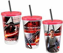 Star Wars VII Becher mit Kylo ren & Rey bedruckt / Trinkbecher transparent aus Acryl
