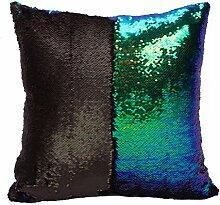 starbay Kissen Schutzhülle Wendbar Mermaid Pailletten Sparkle Sofa Kissen Magic ausgeschnittenem Glitzer, Satin Gewebe, Black and Dream Green, 16 x 16 x 1