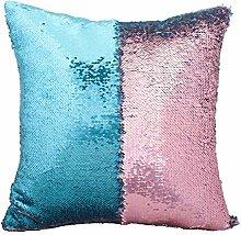 starbay Kissen Schutzhülle Wendbar Mermaid Pailletten Sparkle Sofa Kissen Magic ausgeschnittenem Glitzer, Satin Gewebe, Sky blue and Pink, 16 x 16 x 1