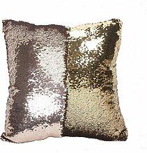 starbay Kissen Schutzhülle Wendbar Mermaid Pailletten Sparkle Sofa Kissen Magic ausgeschnittenem Glitzer, Satin Gewebe, Maroon and Golden, 16 x 16 x 1