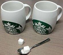 Starbucks Tasse - 16 fl oz / 473 ml - 2 Stück - Original Top - Becher - Porzellan-Kaffeebecher mit Sirenenlogo