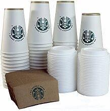 Starbucks Weiße Einwegbecher aus Pappe, 473 ml,