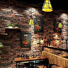 Starsglowing Retro Wandtapete 3D Steintapete Fototapete für Schlafzimmer Wohnzimmer Cafe Bar 9,5 x 0,53 M (Ziegelrot)