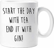 Start The Day With Tee End It mit Gin Becher