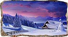 Startonight 3D Tapete Ferienhaus im Winter, Wandmalerei Bild an der Wand Großformat Modern Muster Dekorative Kunst Wand 82 x 150 cm