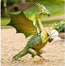 Statue Drachen mit Sonnenkugel Garten Living