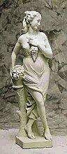 Statue mit Blumen, H 140, Steinfigur, Gartenfigur Farbe sandstein