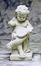 Statue mit Harfe, Steinfigur, Gartenfigur Farbe