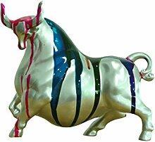 Statue Stier Silber Dekoration Blau Rosa–Artikel Modernes Design