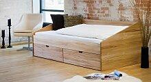 Stauraum-Bett Dänemark, 90x200 cm, Kernbuche natur