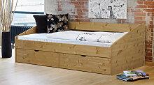 Stauraum-Bett Dänemark, 90x200 cm, Kiefer gelaugt