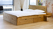 Stauraum-Bett Finnland, 160x200 cm, Kiefer gelaugt