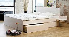 Stauraum-Bett Finnland, 200x200 cm, weiß mit