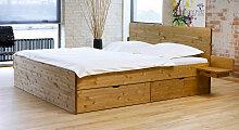 Stauraum-Bett Finnland, 200x210 cm, Kiefer gelaugt