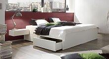 Stauraum-Bett Liverpool, 200x200 cm, weiß