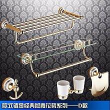 STAZSX Alle Kupfer antike Bad-Accessoires Handtuchhalter Continental Farbe Gold bar Handtuchhalter Bad Hardware-Zubehör-Kit, D-Pake