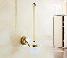 STAZSX Antique Rose Gold Farbe vergoldet Bad-Accessoires Handtuchhalter Handtuchhalter Europaweite Kupfermetall Anhänger-Sets, Gold Klobürste