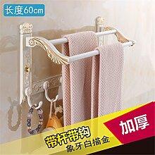 STAZSX Europäische Aktivitäten Handtuchhalter Handtuchhalter Klappmetallanhänger Bad Toilette Regale weiß Bad-Accessoires, zweipolig + Haken 60cm (Raum Aluminium)
