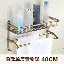 STAZSX Europäische antike Kupfer Bad-Accessoires retro Kupfer Bad Handtuchhalter Badezimmerwand Regale Doppelschicht 2, 40cm einzigen Hebel mit Doppel
