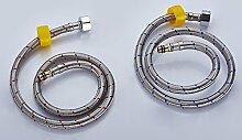 STAZSX Europäische Edelstahl heiß und Kaltwasser Zulauf Rohr Ex-Hochtemperatur Schlauch Einloch-Armatur flexible Verbindung Schlauch, 60cm/Dual-Kartusche