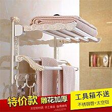 STAZSX Europäische gefalteten Handtuchhalter Bad Handtuchhalter weiß Bad-Suite Bad-Accessoires Regalfläche Aluminium, Handtuchhalter + + Doppelhakenhebel 60cm