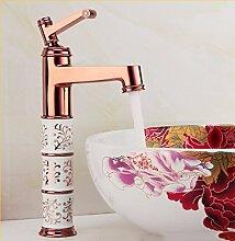STAZSX Europäische heißen und kalten Wasserhahn am Waschbecken Toilette Wasserhahn Antik Kupfer Wasserhahn, rose gold b