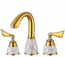 STAZSX Europäische indoor Bronze Waschbecken Wasserhahn heißen und kalten Wasserhahn Wasserhahn Küchenarmatur, gold