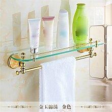 STAZSX Europäische kosmetische Glas Regal Bad Regal Rack Bad Accessoires Handtuchhalter, gold Kupfer