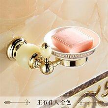 STAZSX Europäische Seifenschale Seifenschale Seifenhalter Bad-Accessoires, Gold