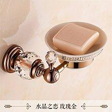 STAZSX Im europäischen Stil Bad-Accessoires Seifenschale Seifenschale Seifenhalter, Crystal Love Rose Gold