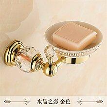 STAZSX Im europäischen Stil Bad-Accessoires Seifenschale Seifenschale Seifenhalter, Kristall Liebe Gold