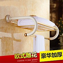STAZSX Im europäischen Stil Handtuchhalter Bad Handtuchhalter Regalfläche Aluminium weiß Bad-Suite Bad-Accessoires Falten, Badetuch Korb Donauabschni