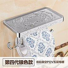 STAZSX Kontinentale antiken Seidenpapier Rack Sanitär bin Toilettenpapier Rack Toilette WC Fach Handy Handtuch Box, Barock Silber