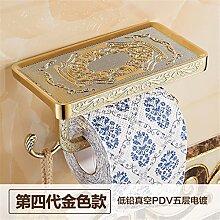 STAZSX Kontinentale antiken Seidenpapier Rack Sanitär bin Toilettenpapier Rack Toilette WC Fach Handy Handtuch Box, Barock gold