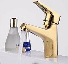 STAZSX Kontinentale Messing Toilette Wasserhahn warmes und kaltes Becken Badezimmer Waschbecken Armaturen Einlochmontage Einhand, SLT