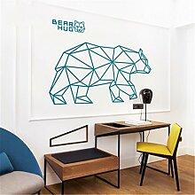 Stazsx Kreative geometrische tier wandaufkleber see grün bär wandaufkleber wohnzimmer schlafzimmer korridor wandaufkleber tapete wandmalereien, große