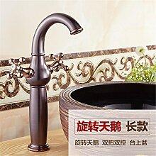 Stazsx Küche Hahn und Badezimmer Hahn Retro Wasserhahn Waschtischarmaturen Basin Mixer Tap,Rotierende Swan Long